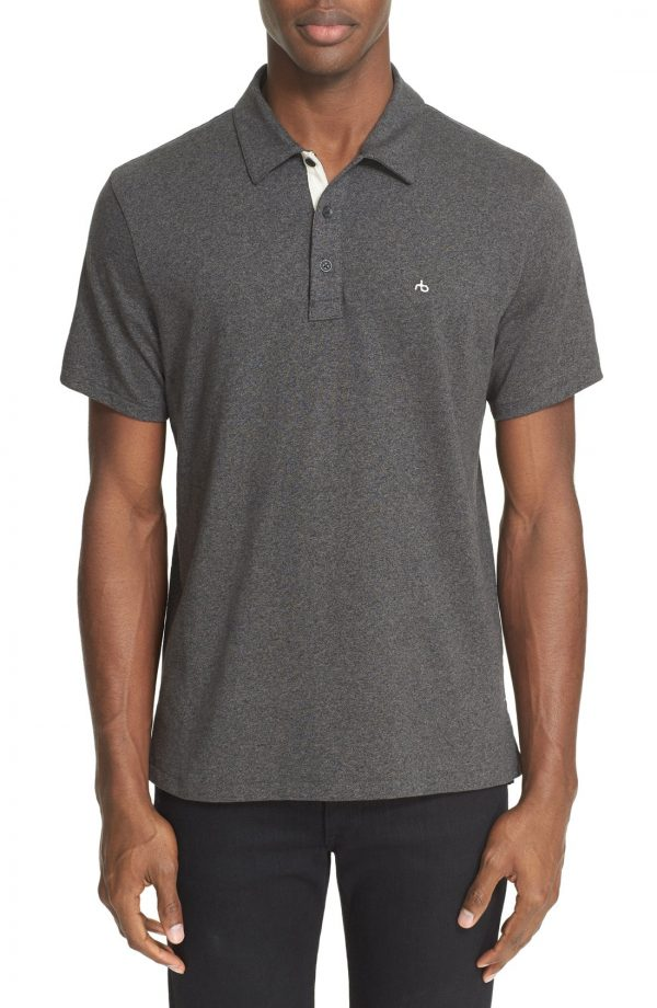 Men's Rag & Bone Standard Issue Regular Fit Slub Cotton Polo, Size Small - Blue