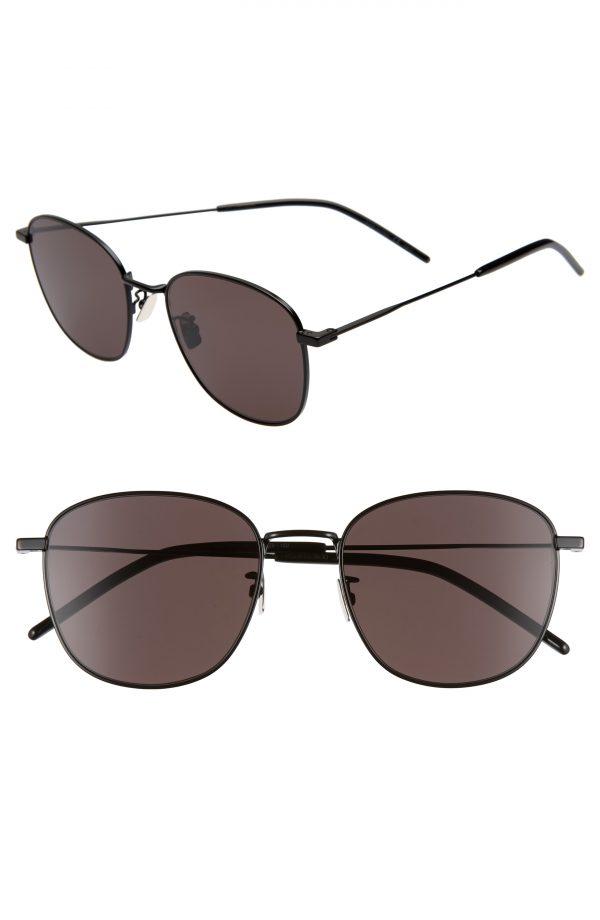 Men's Saint Laurent 56Mm Square Sunglasses - Black