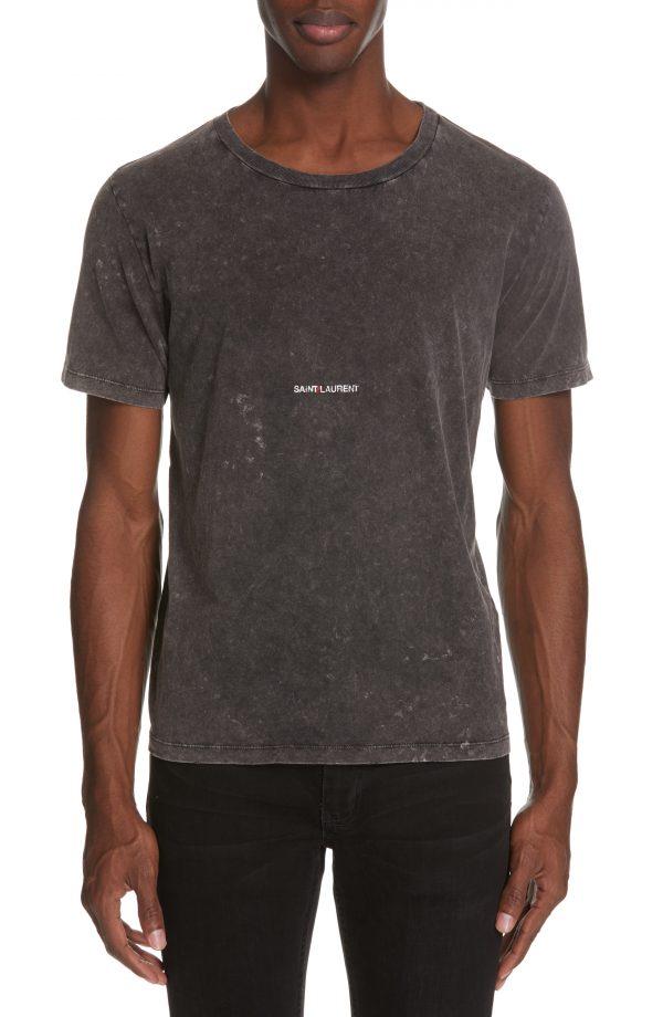 Men's Saint Laurent Gauche Destroyed Jersey T-Shirt, Size Large - Black