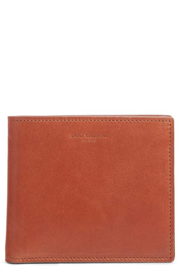 Men's Saint Laurent Leather Bifold Wallet - Brown