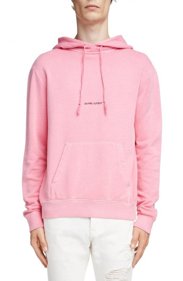 Men's Saint Laurent Logo Hooded Sweatshirt, Size Small - Pink