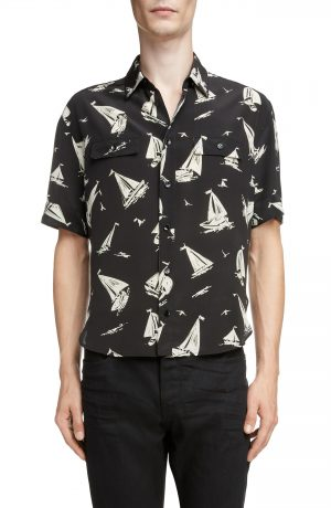 Men's Saint Laurent Sailboat Print Silk Shirt, Size 38 EU - Black