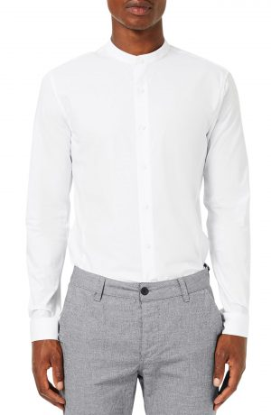 Men's Topman Band Collar Skinny Fit Dress Shirt, Size XX-Large - White