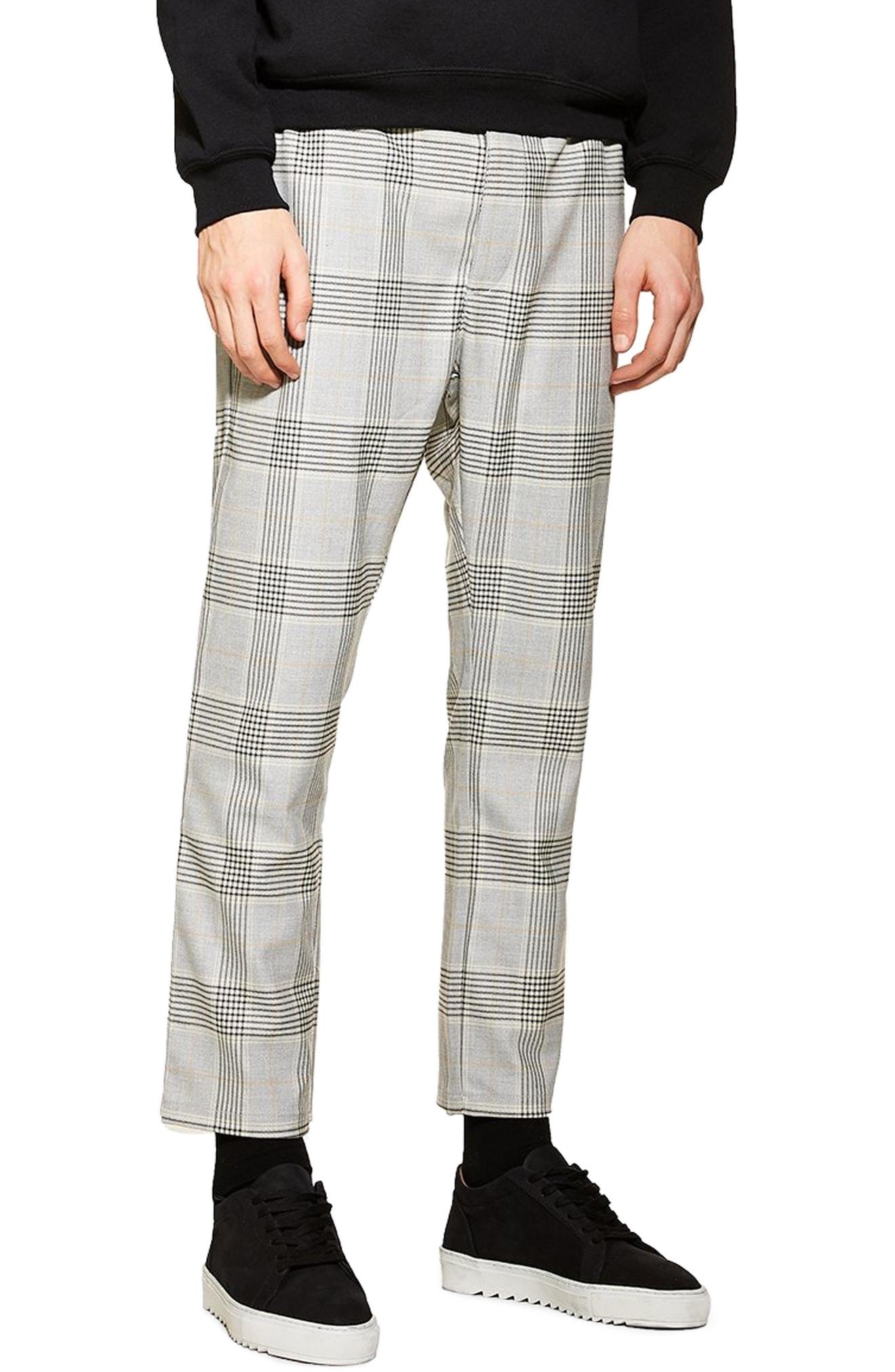 e06e0c587c7c Men's Topman Check Print Skinny Fit Trousers, Size 36 x 34 – Grey ...