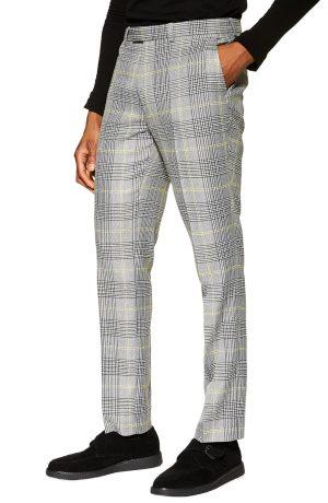 Men's Topman Check Slim Trousers, Size 30 x 32 - Grey