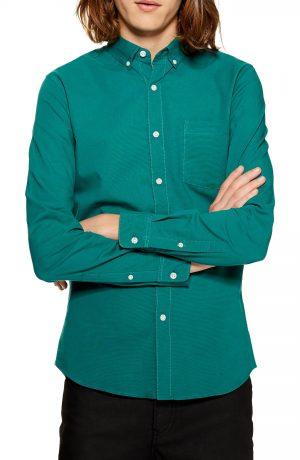 Men's Topman Classic Fit Oxford Shirt, Size Medium - Blue/green