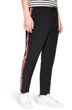 Men's Topman Classic Fit Side Stripe Cropped Jogger Pants, Size 28 x 32 - Black