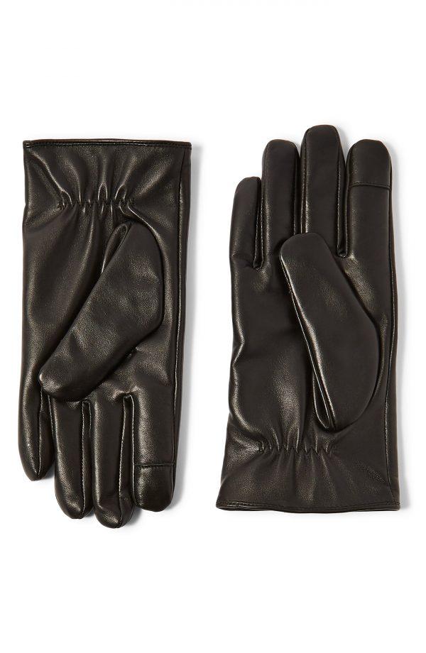 Men's Topman Leather Gloves, Size Small/Medium - Black
