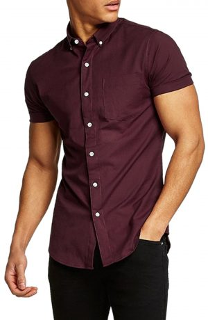 Men's Topman Muscle Fit Oxford Shirt, Size Large - Burgundy