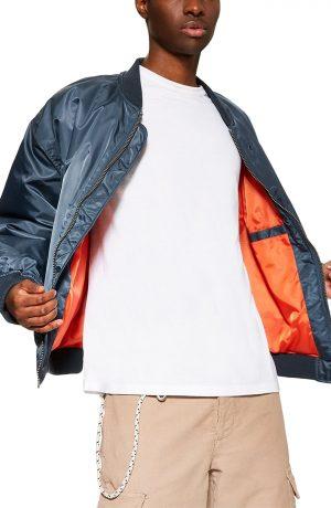 Men's Topman Oversize Bomber Jacket, Size Large - Green