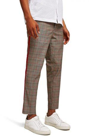 Men's Topman Side Stripe Skinny Fit Cropped Trousers, Size 36 x 32 - Brown