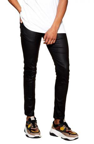 Men's Topman Skinny Stretch Snakeskin Print Trousers, Size 30 x 32 - Black
