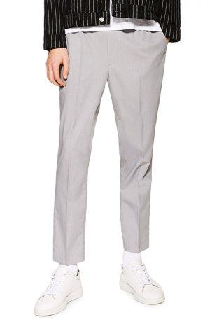 Men's Topman Slim Fit Cropped Jogger Pants, Size 38 x 32 - Grey