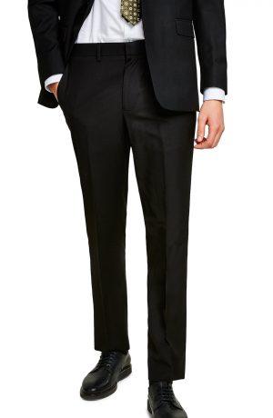 Men's Topman Slim Fit Suit Trousers, Size 28 x 32 - Black