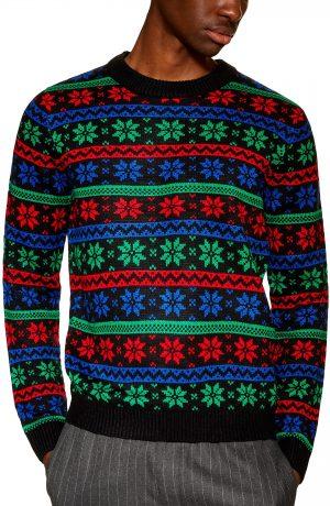 Men's Topman Snowflake Sweater, Size X-Large - Black