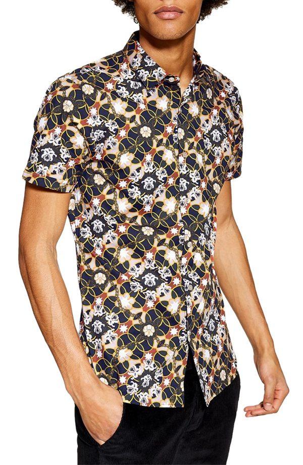 Men's Topman Star Floral Skinny Smart Woven Shirt, Size Large - Blue