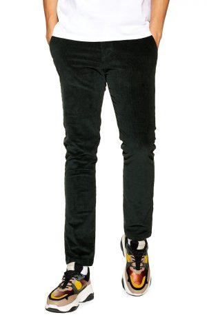 Men's Topman Stretch Skinny Fit Corduroy Pants, Size 38 x 32 - Green