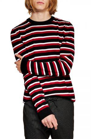 Men's Topman Stripe Crewneck Sweater, Size Medium - Red