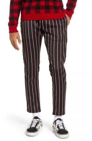 Men's Topman Stripe Jogger Pants, Size 30 x 34 - Red