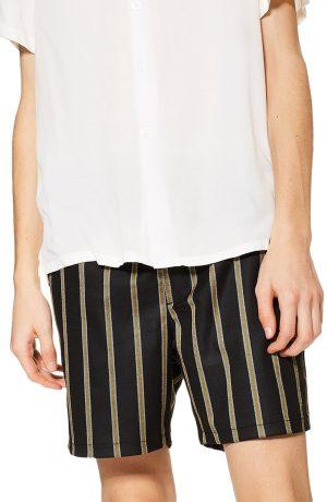 Men's Topman Striped Swim Shorts, Size Large - Black