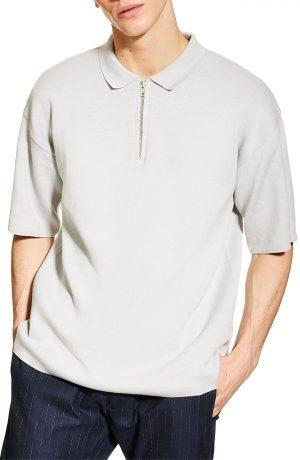 Men's Topman Sweater Knit Polo, Size Large - Grey