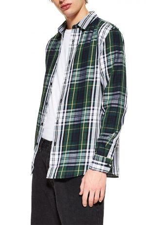 Men's Topman Tartan Slim Fit Sport Shirt, Size Large - Green