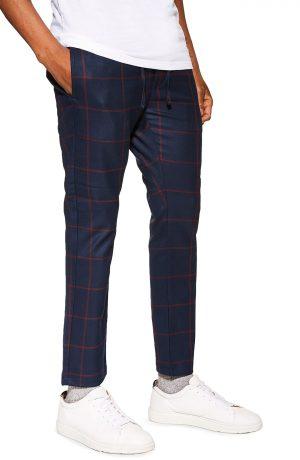 Men's Topman Windowpane Check Jogger Pants, Size 28 x 32 - Blue