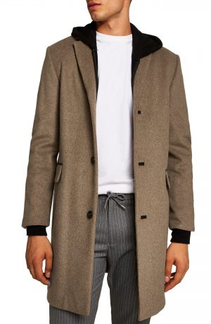 Men's Topman Wool Blend Overcoat, Size X-Large - Beige