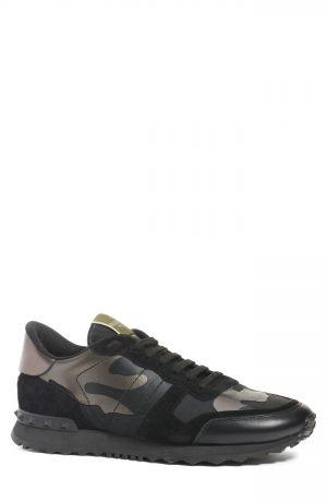 Men's Valentino Garavani Camo Rockrunner Sneaker, Size 7US / 40EU - Black