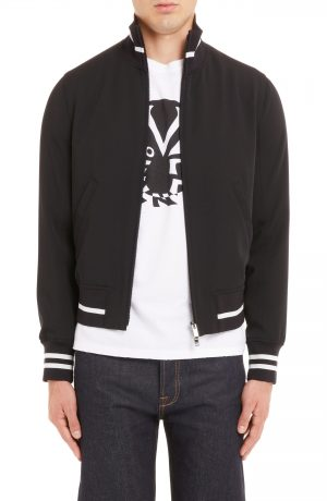 Men's Valentino Stripe Trim Zip Jacket, Size 46 EU - Black
