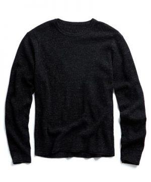 Merino Waffle Crewneck Sweater in Black Marl