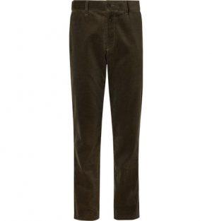Mr P. - Army-Green Cotton-Corduroy Trousers - Men - Army green