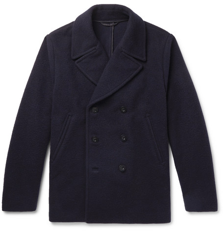 Mr P. - Double-Breasted Virgin Wool and Cashmere-Blend Bouclé Peacoat - Men - Navy