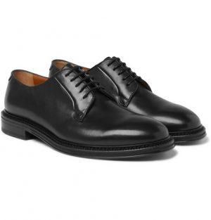 Mr P. - Lucien Polished-Leather Derby Shoes - Men - Black