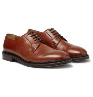 Mr P. - Lucien Polished-Leather Derby Shoes - Men - Tan