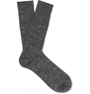 Mr P. - Mélange Cotton-Blend Socks - Men - Charcoal