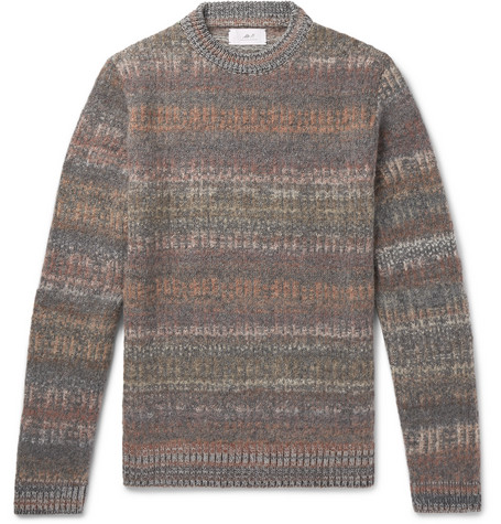 Mr P. - Space-Dyed Mélange Knitted Sweater - Men - Gray