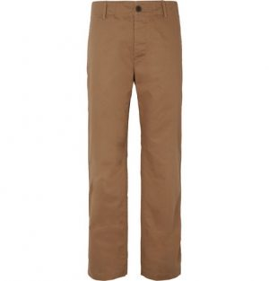 Mr P. - Wide-Leg Herringbone Cotton Chinos - Men - Light brown