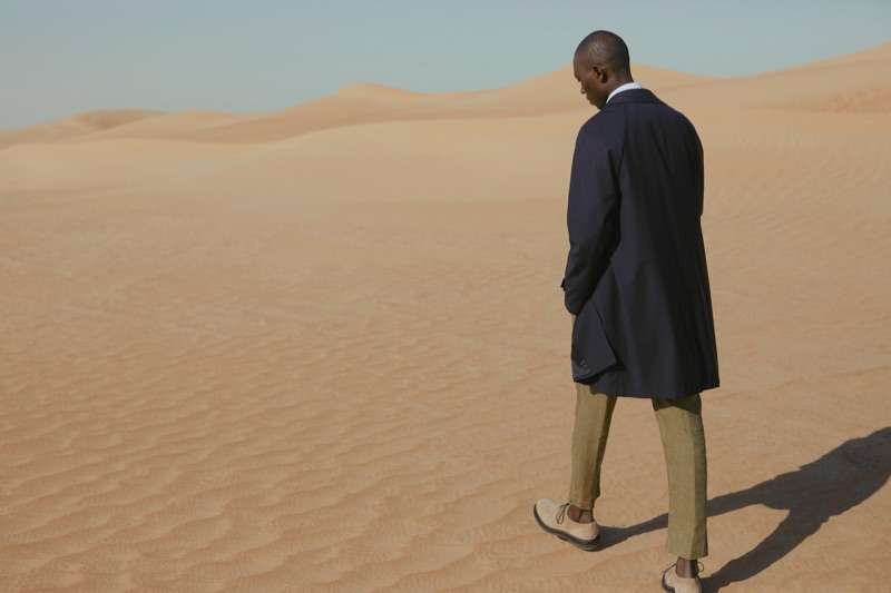 The Trench: Armando Cabral models a Mr P. shirt, Boglioli trousers, and Brunello Cucinelli suede derby shoes.