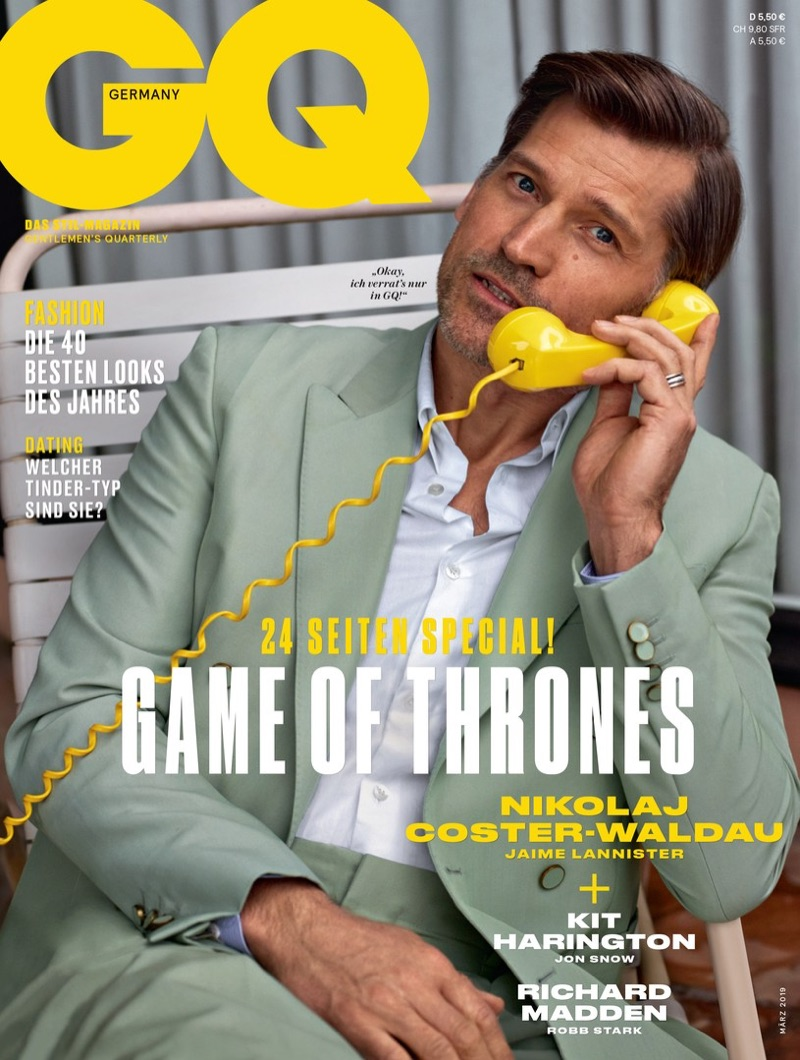 Nikolaj Coster-Waldau covers the March 2019 issue of GQ Germany.