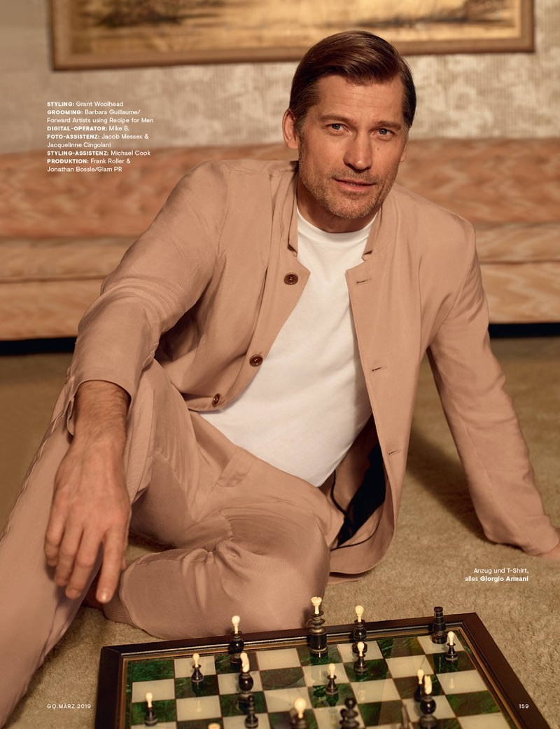 Embracing neutrals, Nikolaj Coster-Waldau wears Giorgio Armani.