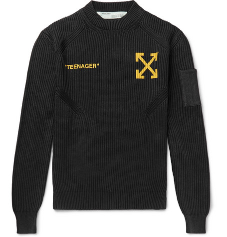 Off-White - Bart Simpson Printed Ribbed Cotton and Cashmere-Blend Sweater - Men - Black