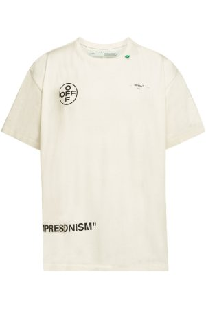 Off-White Cotton Stencil Short Sleeve Over Tee