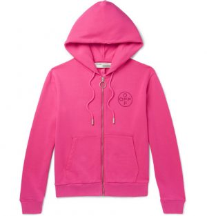 Off-White - Embellished Loopback Cotton-Jersey Zip-Up Hoodie - Men - Bright pink