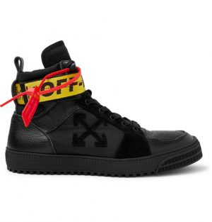 Off-White - Industrial Full-Grain Leather, Suede and Ripstop High-Top Sneakers - Men - Black