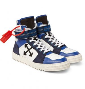 Off-White - Industrial Panelled Ripstop, Suede and Leather High-Top Sneakers - Men - Blue