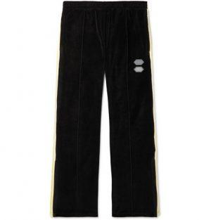 Off-White - Logo-Intarsia Cotton-Blend Velour Sweatpants - Men - Black