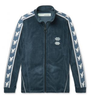 Off-White - Logo-Intarsia Cotton-Blend Velour Track Jacket - Men - Blue