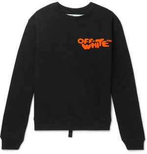 Off-White - Logo-Print Loopback Cotton-Jersey Sweatshirt - Men - Black