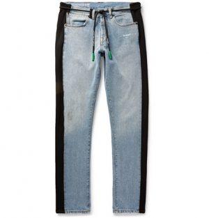 Off-White - Slim-Fit Logo-Appliqued Jersey-Trimmed Denim Jeans - Men - Light blue